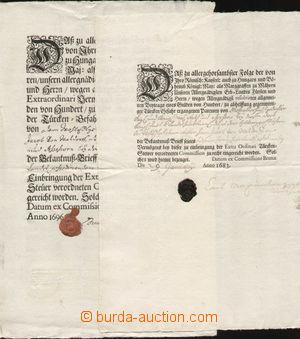 132996 - 1683-96 RAKOUSKO  sestava 2ks listin s krásnou iniciálou -