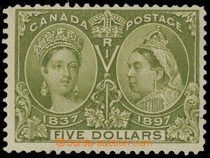 133093 - 1897 SG.140; Sc.65, Jubilejní $5 olivově zelená, původní lep