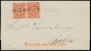 133134 - 1869 skládaný dopis do Argentiny vyfr. zn. Mi.9, 2-páska,
