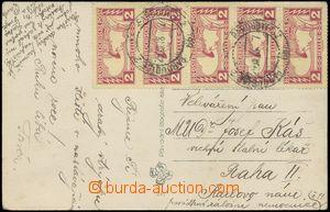 133145 - 1918 pohlednice (novoroční přání) vyfr. 5-páskou rakouských