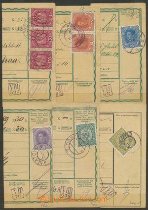 133192 - 1919 sestava 6ks ústřižků rakouských průvodek s různými soub