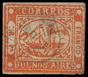133207 - 1858 BUENOS AIRES  MI.3, 4P červená, lokální vydání, v