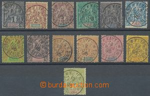 133255 - 1895 Mi.3-15, Alegorie, vše s DR KAYES, levné 1c a 4c vzad
