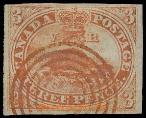 133303 - 1851 Mi.2; SG.1, Bobr 3d červená, rýhovaný papír, krás