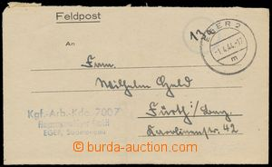 133306 - 1944 zálepka FP, DR EGER 1.4.44, řádkové razítko Flugzeugwer