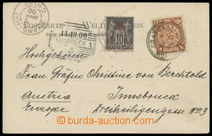 133313 - 1900 pohlednice Šanghaje do Innsbrucku vyfr. smíšenou franka