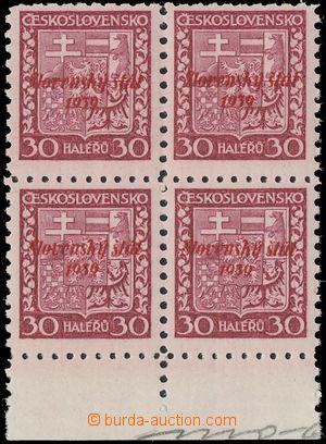 133375 - 1939 nevydaná čsl. známka Pof.252, Znak 30h fialová s č