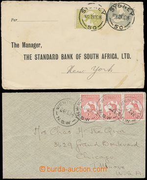 133560 - 1914-16 sestava 2ks dopisů do USA vyfr. zn. emise Mapa s kl