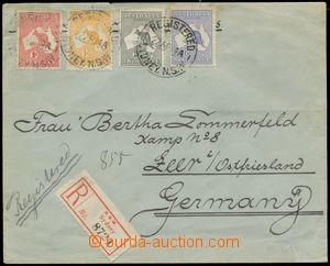 133562 - 1914 R-dopis do Německa vyfr. zn. Mi.5, 6, 9, 11; SG.2, 3,