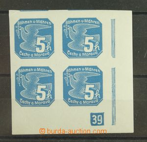 133592 - 1939 Pof.NV2, 5h blue, R corner blk-of-4 with plate number 3