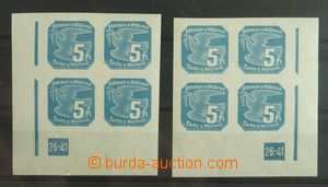 133593 - 1939 Pof.NV2, 5h blue, comp. 2 pcs of corner blk-of-4 L + R