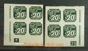 133596 - 1939 Pof.NV7, 20h zelená, sestava 2ks rohových 4-bloků L+
