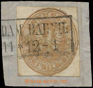 134212 - 1861 Mi.GAA14, Orlice 3Sgr, hnědý okr, výstřižek z celiny po