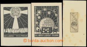 136232 - 1920-30 sestava 3ks ex libris, Ludolf Frank, H. K. Frech a V