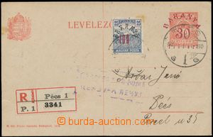 137292 - 1920 BARANYA  Hungarian PC 10f with red overprint BARANYA/ 3
