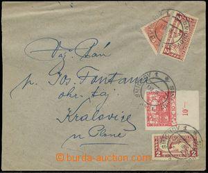 137522 - 1918 dopis vyfr. zn. Pof.5, Hradčany, Mi.219 2x, Spěšné, Mi.