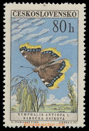 1961 Pof 1222bII, Butterflies 80h blue and green, type II - změněná  printing tree
