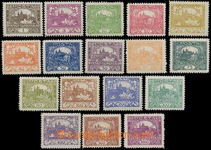 139042 -  Pof.1-26D, sestava 17ks známek 1h-1000h,  ŘZ 11½, úřed