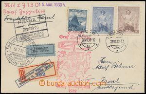139059 - 1939 ZEPPELIN  zeppelinový dopis zaslaný jako R do Kasselu p