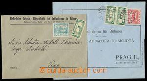 139227 - 1919 sestava 2ks firemních dopisů vyfr. smíšenými frankatura