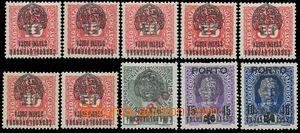 139568 - 1918 Pražský přetisk II. (velký znak), sestava 10ks známek s
