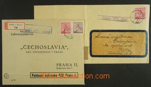 141073 - 1945 2ks dopisů, 1x poštovna MAJETÍN  (BRODEK U PŘEROVA) mod
