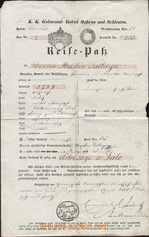 143371 - 1841 CESTOVNÍ PAS  rakouský pas na jméno Martin Tallaga, výd