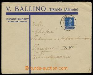 143421 - 1935 firemní dopis do ČSR vyfr. zn. Mi.222, Král Zogu I. 25Q