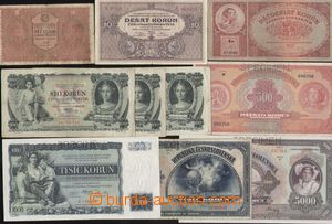 143610 - 1918-39 ČSR I.  sestava 10ks bankovek; neperforované: Ba.8 (