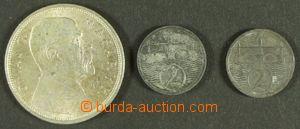 143615 - 1924-28 ČSR I.  sestava 3ks mincí, 10Kč Masaryk 1928, 2h 192
