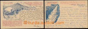 144209 - 1895 KRKONOŠE - sestava 2ks pohlednic, Labský vodopád a Sněž