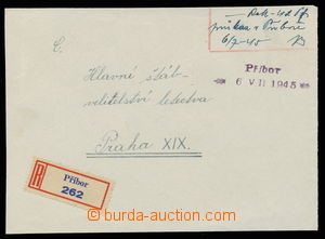 144353 - 1945 address side Reg letter, provisional 2-lines cancel. PŘ