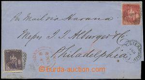 144696 - 1868 dopis do Philadelphie vyfr. zn. SG.69, 70, Sedící Brita