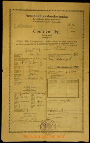 146261 - 1919 ČSR I. / CESTOVNÍ PAS na jméno Frant. Kohout, včetně fo