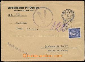 146271 - 1942 úřední dopis s modrým razítkem V v kruhu, odesláno bez
