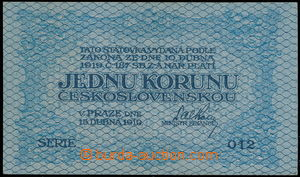147010 - 1919 ČSR I.  Ba.7, hodnota 1Kč, série 012, kvalita N; kat. 7