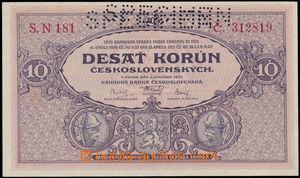 147012 - 1927 ČSR I.  Ba.22, hodnota 10Kč, série N 181, neobvyklá dvo