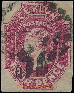 147139 - 1857 SG.4, Královna Viktorie 4P tmavě růžová, reparované okr