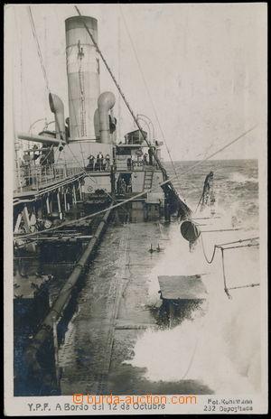 147253 - 1921 pohled na palubu lodi, čb fotopohlednice, na výšku; pro