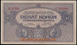 147531 - 1919 ČSR I.  Ba.9b, 10Kč šedofialová, série O126, kvalita UN