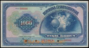 147533 - 1919 ČSR I.  Ba.14s, 1000Kč tmavomodrá, série E, anulát 0000