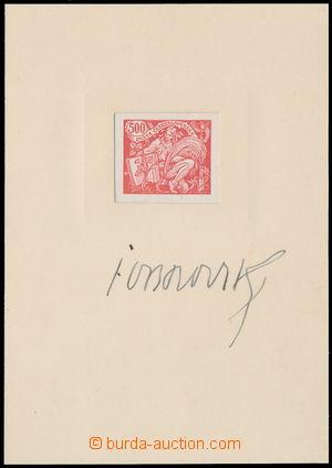 148619 -  ZT hodnoty 500h v červené barvě na křídovém kartónu, vlepen