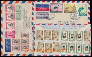 149035 - 1955-61 sestava 3ks Let+R-dopisů do ČSR, bohaté frankatury,