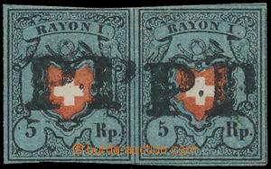 149532 - 1850 Mi.7II, RAYON I, 5Rp modrá, vodorovná 2-páska; nahoře t
