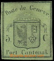 149953 - 1845 ŽENEVA  Mi.3, Malý Orel 5C zelená; poštovně nepoužitá,