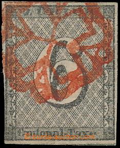 149957 - 1843 ZURICH  Mi.2II, 6Rp Cantonal Taxe, vodorovný podtisk, t