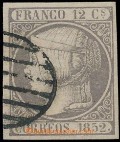 150013 - 1852 Mi.13, Edifil13b, Isabela II. 12C tmavě fialová; mimořá