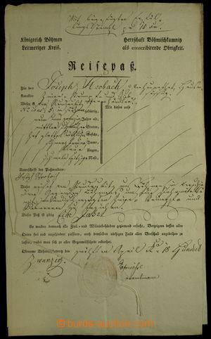 151824 - 1820 RAKOUSKO / CESTOVNÍ PAS  dokument s vtištěným kolkem 15