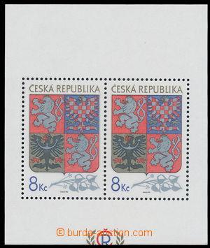 151857 - 1993 Pof.A10VV, aršík Velký státní znak, odlišný ořez; kat.