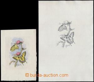 151913 - 1961 Motýli, 2x rytina otakárek fenyklový od J. Schmidta, ná